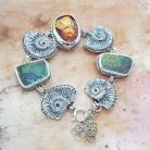 Bransoletki srebrna,bransoletka,z ammolitem i bursztynem