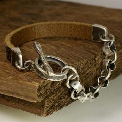bransoleta męska,surowa biżuteria ze srebra - Dla mężczyzn - Biżuteria