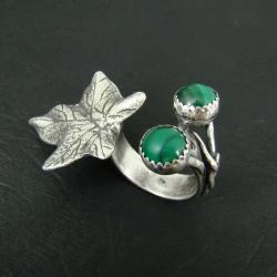 pierścień,otwarty,liść,ozdobny - Pierścionki - Biżuteria