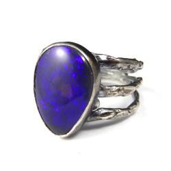 opal,srebrny,opalowy,łza,tęczowy,unikat,fiolet - Pierścionki - Biżuteria