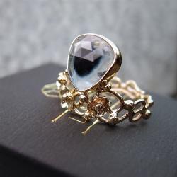 złoty pierścionek z turmalinem - Pierścionki - Biżuteria