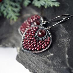 srebrne kolczyki z granatami,na studniówkę - Kolczyki - Biżuteria