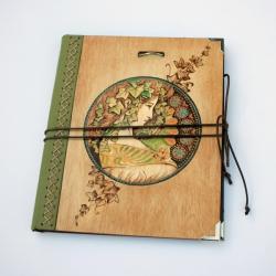 szkicownik,notatnik,pirografia,kobieta,bluszcz - Notesy - Akcesoria