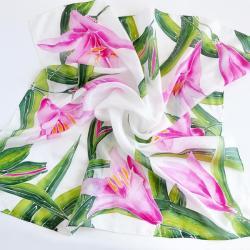 jedwab,chusta,lilie,chusta w kwiaty,malowany - Szale, apaszki - Dodatki