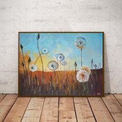 dmuchawce,łąka,akryl,obraz - Obrazy - Wyposażenie wnętrz