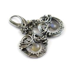kolczyki,wire-wrapping,labradoryt,misterne - Kolczyki - Biżuteria