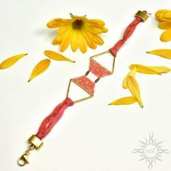 boho,na lato,jedwab,geometryczna,sari,koralowa - Bransoletki - Biżuteria