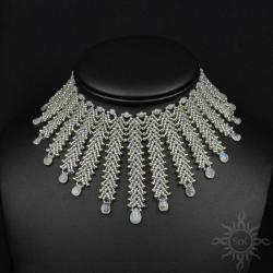 ślub,misterna,kolia,ażurowa,kamień księżycowy, - Naszyjniki - Biżuteria