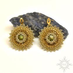 złote,sztyfty,labradoryt,ażurowe,słońce,okrągłe - Kolczyki - Biżuteria