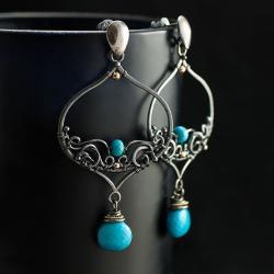 kolczyki,na lato,wire-wrraping,okazałe,unikat - Kolczyki - Biżuteria