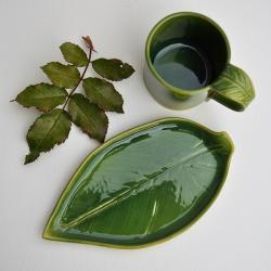 ceramika,kubek,talerzyk,liść,liść ceramiczny - Ceramika i szkło - Wyposażenie wnętrz