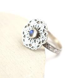 pierścionek,mandala,kamień księżycowy, - Pierścionki - Biżuteria