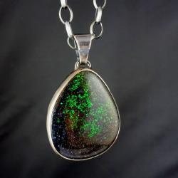 matrix,blask,opal,teczowy,okazały,srebrny,unikat, - Wisiory - Biżuteria