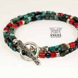 bransoleta męska,biżuteria męska z turkusu - Dla mężczyzn - Biżuteria