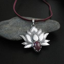 kwiat lotosu,biżuteria artystyczna,rękodzieło, - Wisiory - Biżuteria