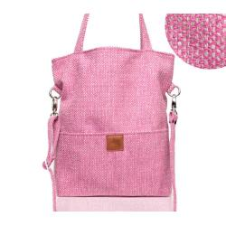 różowa torebka,toreba z plecionki - Na ramię - Torebki