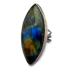 labradoryt,blask,błękit,złocisty,srebrny,szarości - Pierścionki - Biżuteria