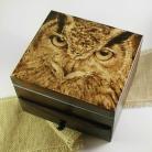 Pudełka sowa,pirografia,wypalanie