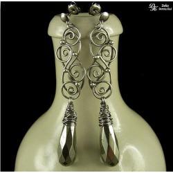 kolczyki,koronki,piryt,złote,srebro,eleganckie - Kolczyki - Biżuteria