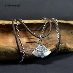 srebrny wachlarz,naszyjnik srebrny z kamieniem, - Naszyjniki - Biżuteria