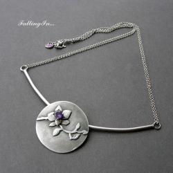 naszyjnik,orchidea,ametyst,kobiecy,orientalny - Naszyjniki - Biżuteria