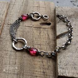 masywna,nowoczesna,z łańcucha,kwarc - Bransoletki - Biżuteria