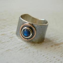 z kamieniem księżycowym,szeroki,surowe srebro - Pierścionki - Biżuteria