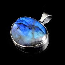 labradoryt,srebrny,blask,surowy,tęczowy,cobalt - Wisiory - Biżuteria