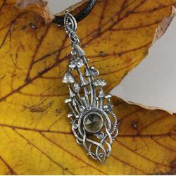 grzyby,grzybobranie,srebrne grzyby,leśny wisior - Wisiory - Biżuteria
