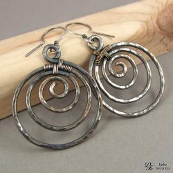 kolczyki,miedź,spiralki,koła,etniczne,wirewrapoing - Kolczyki - Biżuteria