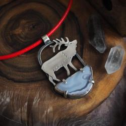 leśne historie,jeleń,srebrny naszyjnik,czerwony - Naszyjniki - Biżuteria
