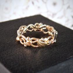 ażurowa złota obrączka - Pierścionki - Biżuteria
