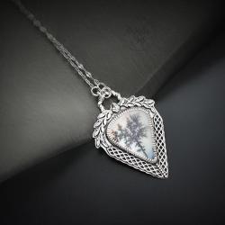 srebrny,naszyjnik,romantyczny,z drzewem - Naszyjniki - Biżuteria