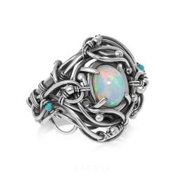 opal,srebrny pierścionek,unikat - Pierścionki - Biżuteria
