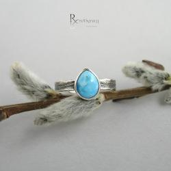 turkus,pierścionek dziewczęcy,srebrny - Pierścionki - Biżuteria