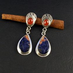 srebrne kolczyki z sodalitami - Kolczyki - Biżuteria