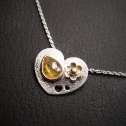 srebrna celebrytka z turmalinem - Naszyjniki - Biżuteria