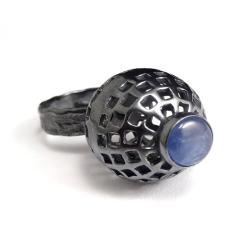 kyanit,blask,srebrny,delikatny,niebieski,srebro - Pierścionki - Biżuteria