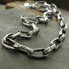 Naszyjniki gruby łańcuch naszyjnik unisex,srebrny łańcuch