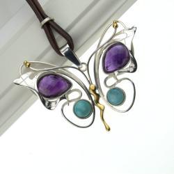 wisior srebrny motyl z kamieniami,eksluzywny - Wisiory - Biżuteria