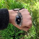 Naszyjniki Florystyczny wisior z czarnym onyksem