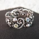 Pierścionki ażurowy srebrny pierścionek z kamieniami