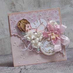 chrzest,dziewczynka,kwiaty,ręcznie kolorowany - Kartki okolicznościowe - Akcesoria