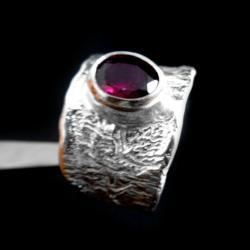 rodolit,srebrny,amarant,fuksja, - Pierścionki - Biżuteria