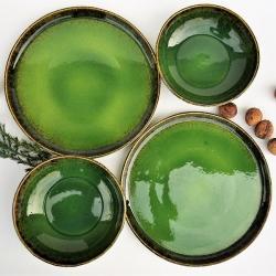 ceramika,talerz,miska,zielona ceramika - Ceramika i szkło - Wyposażenie wnętrz