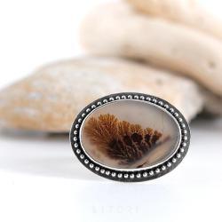agat dendrytowy,z agatem,litori,brązowy - Pierścionki - Biżuteria