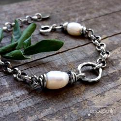łańcuszkowa,gruba,z perłą,srebrna - Bransoletki - Biżuteria