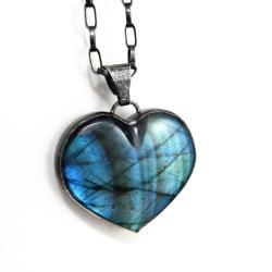 serce,labradoryt,blask,niebieski,srebrny,retro, - Wisiory - Biżuteria