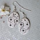 Kolczyki kolczyki w kwiaty,czarno białe,porcelanowe