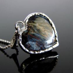 pietersite,srebro,serce,Unikat - Naszyjniki - Biżuteria